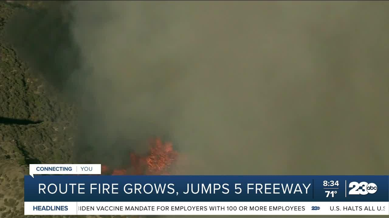 Route fire grows, jumps I-5 freeway