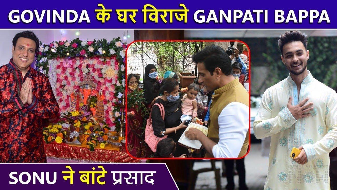 Sonu Sood Distributing Ganesha's Sweets, Govinda And Ayusha Sharma's Ganpati