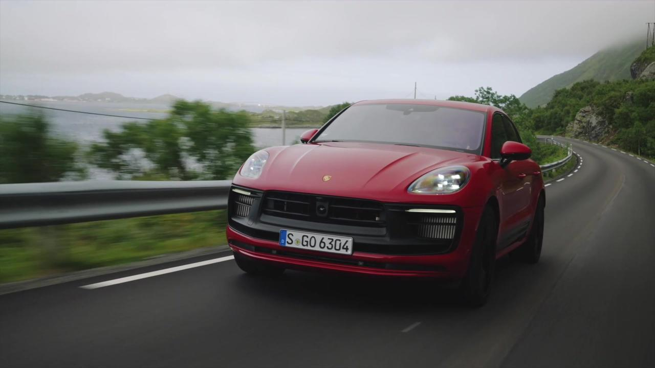 The new Porsche Macan GTS in Carmine Red Driving Preview
