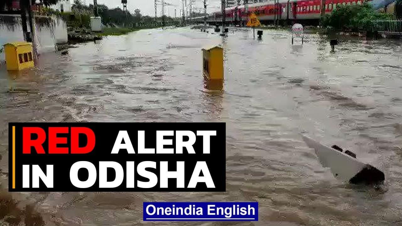 Odisha: Record rains submerge railway station, red alert sounded   Oneindia News
