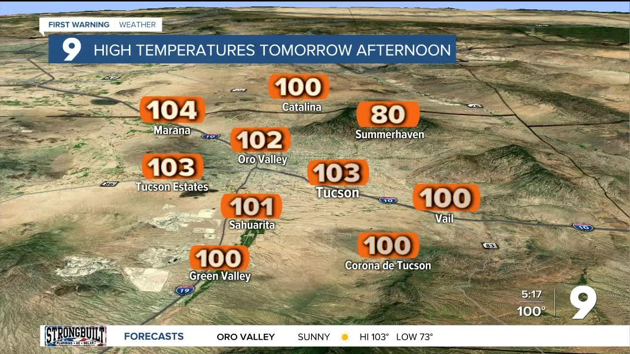 Excessive heat for parts of the forecast area