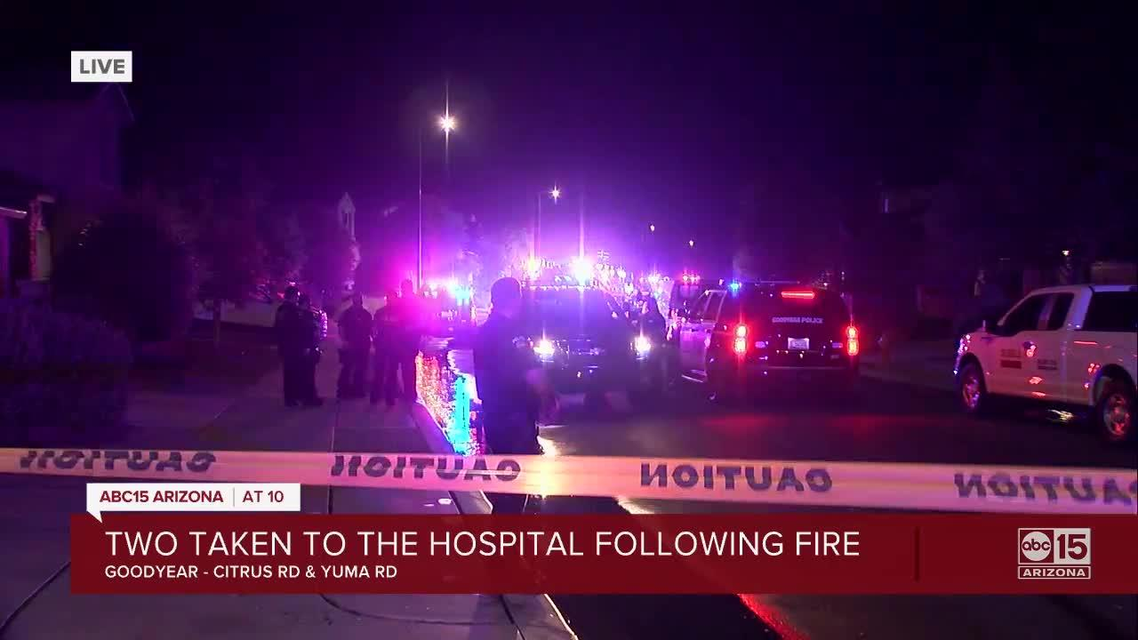 Two injured in Goodyear trailer home fire