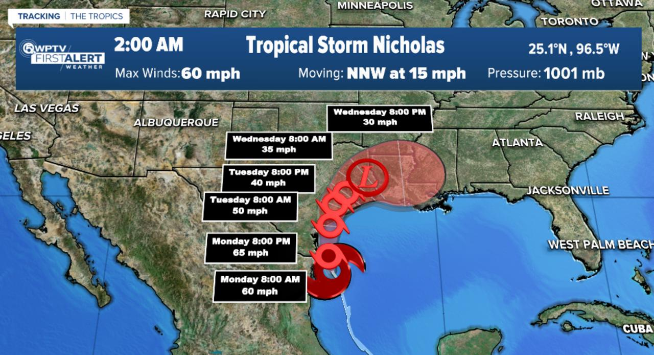 Tropical Storm Nicholas heading to Texas, two tropical waves could develop