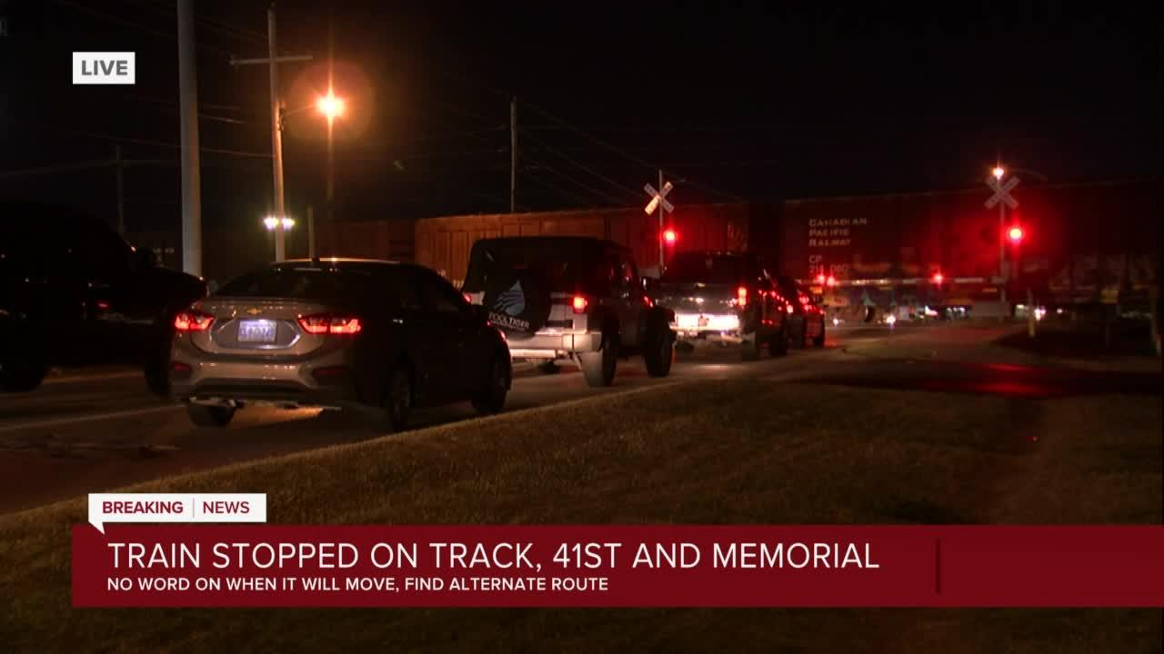 Train stopped on track at 41st and Memorial