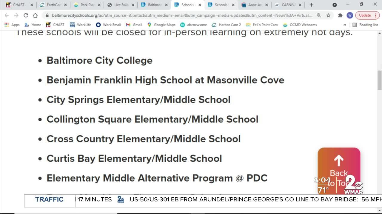 Baltimore City schools closing early
