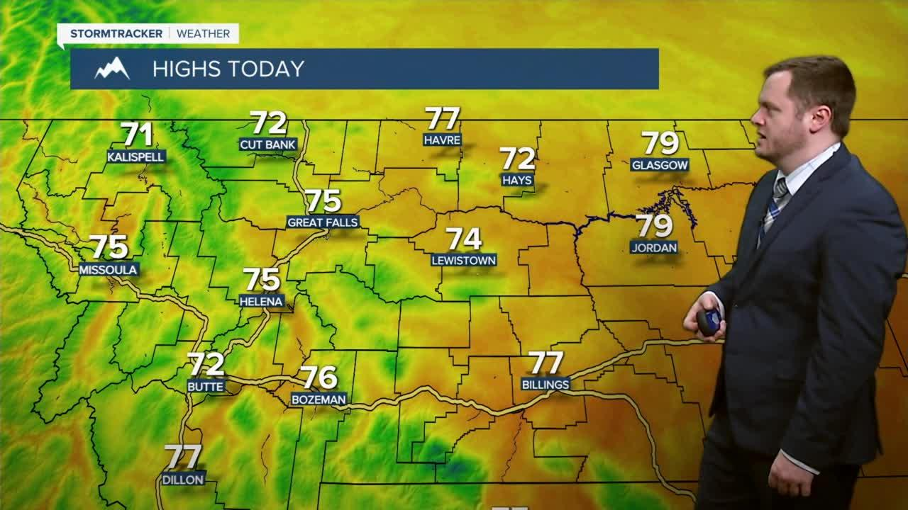 Pleasant and warm day for your Monday with temps in the 70s.