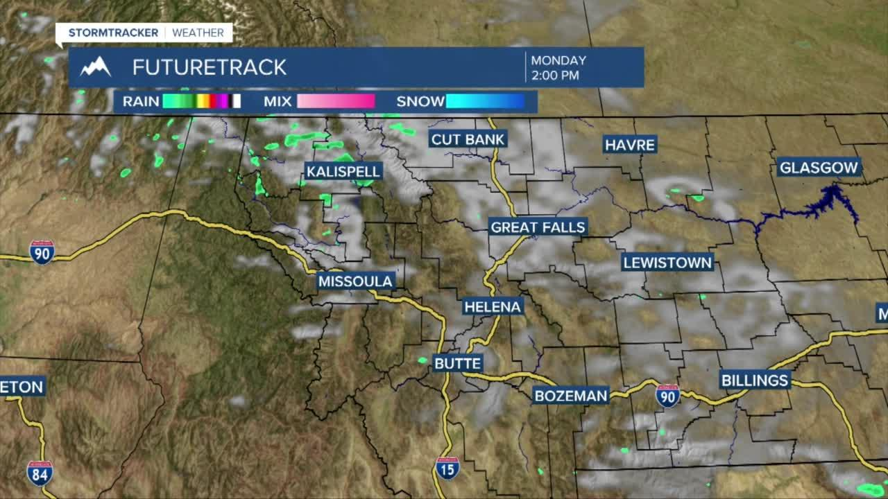 A few showers for northwest Montana Monday