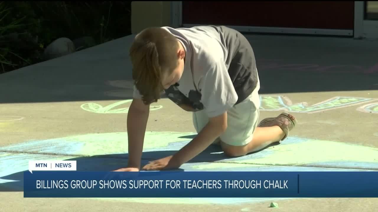 Billings families spread positivity to school teachers using sidewalk chalk