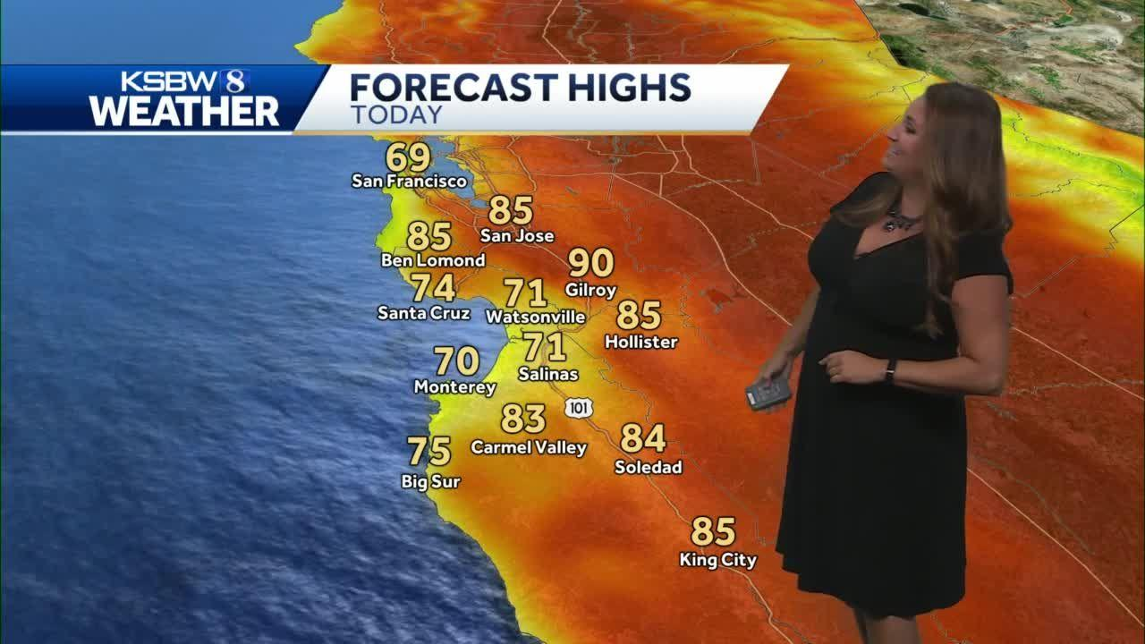 Mostly sunny with slightly cooler temps inland