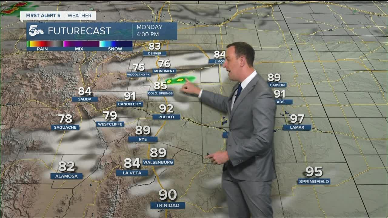 Hot and breezy with a few isolated thunderstorms-Noon