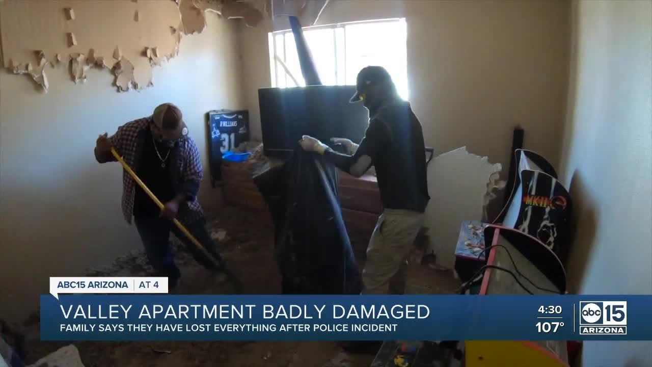 Valley apartment badly damaged by Mesa police