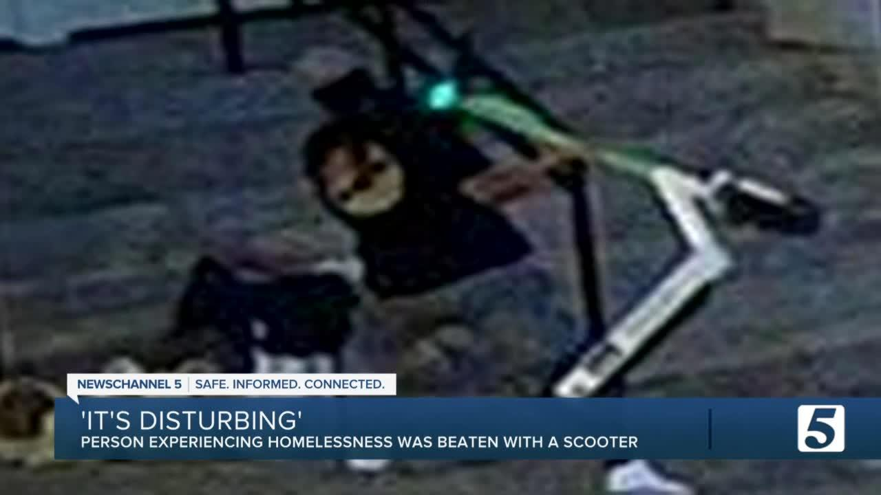 'It's disturbing.' Man beats person experiencing homelessness with scooter