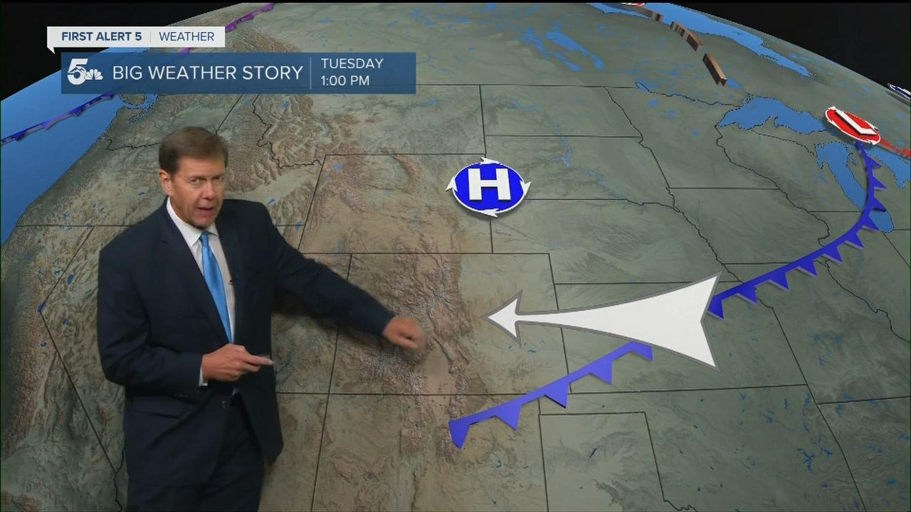 Weak cold front moves into the region