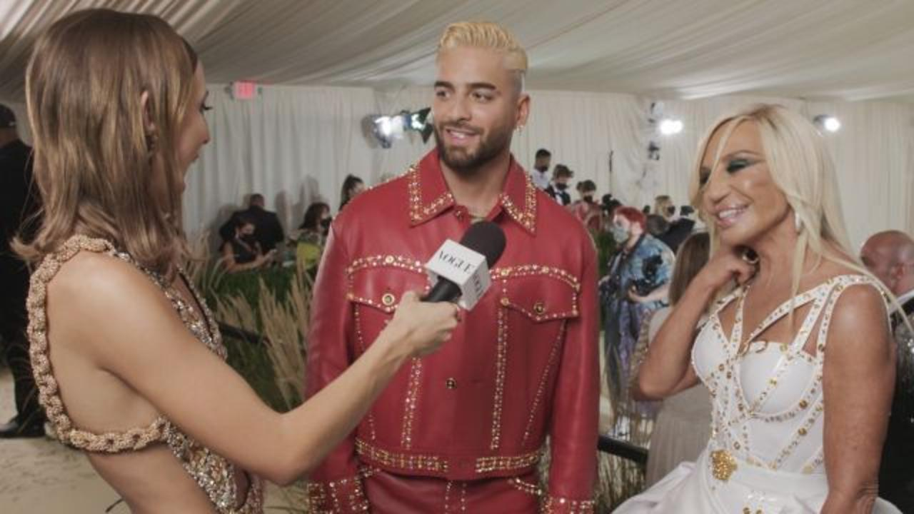 Donatella Versace & Maluma on Their Bedazzled Met Outfits