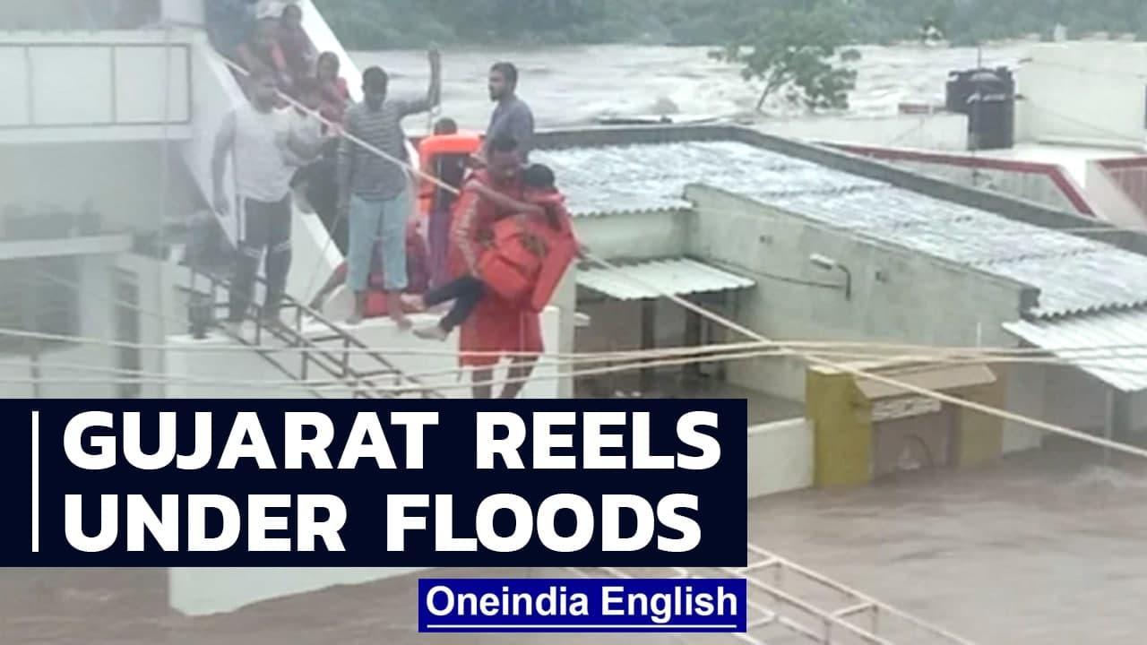 Gujarat floods: Heavy rains in Saurashtra as NDRF, IAF respond | Oneindia News
