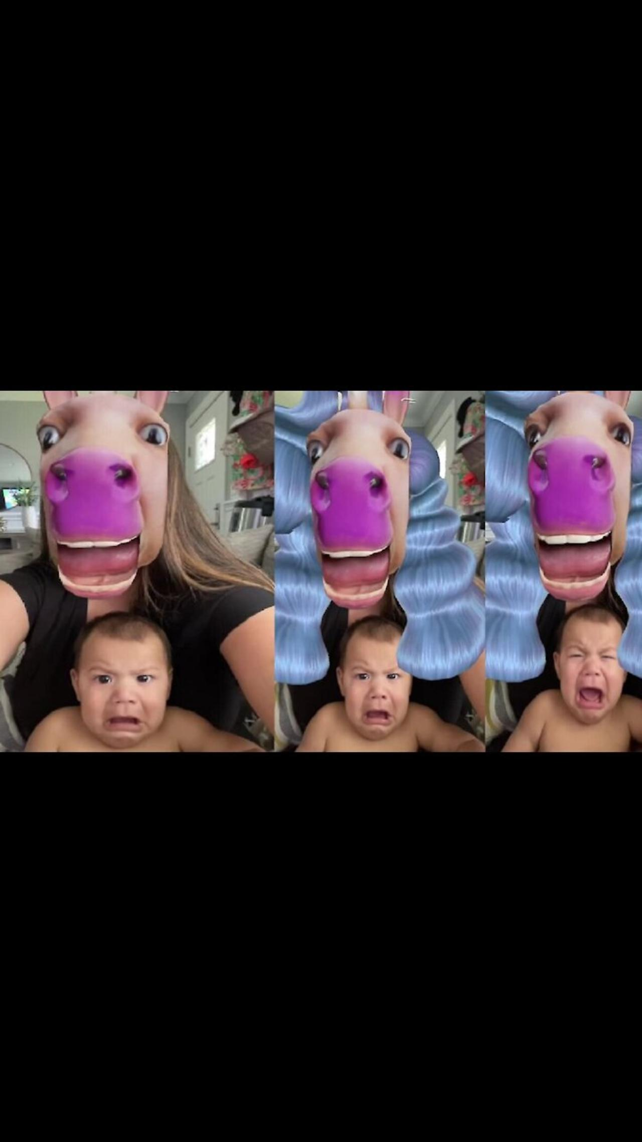 Baby falls victim to hilarious 'horse face' video filter