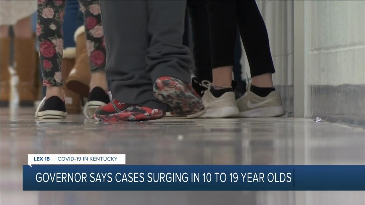 Governor says cases surging in 10 to 19-year-olds