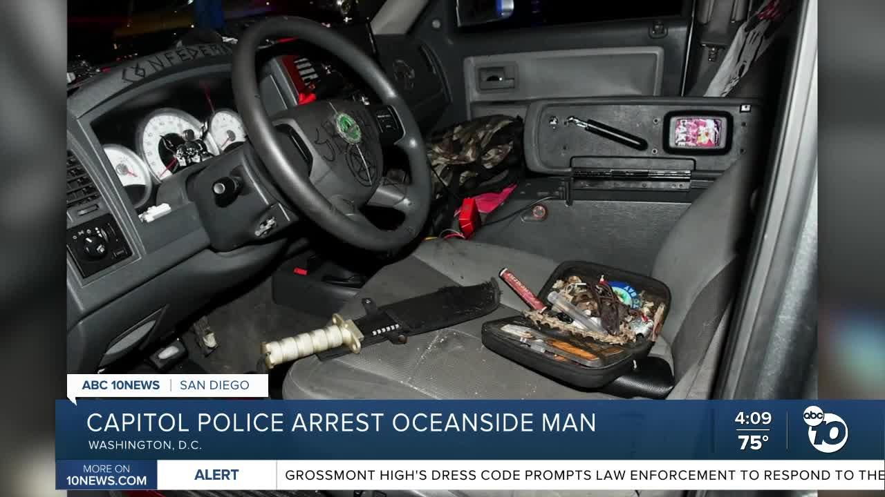Oceanside man arrested in DC after knives found in truck