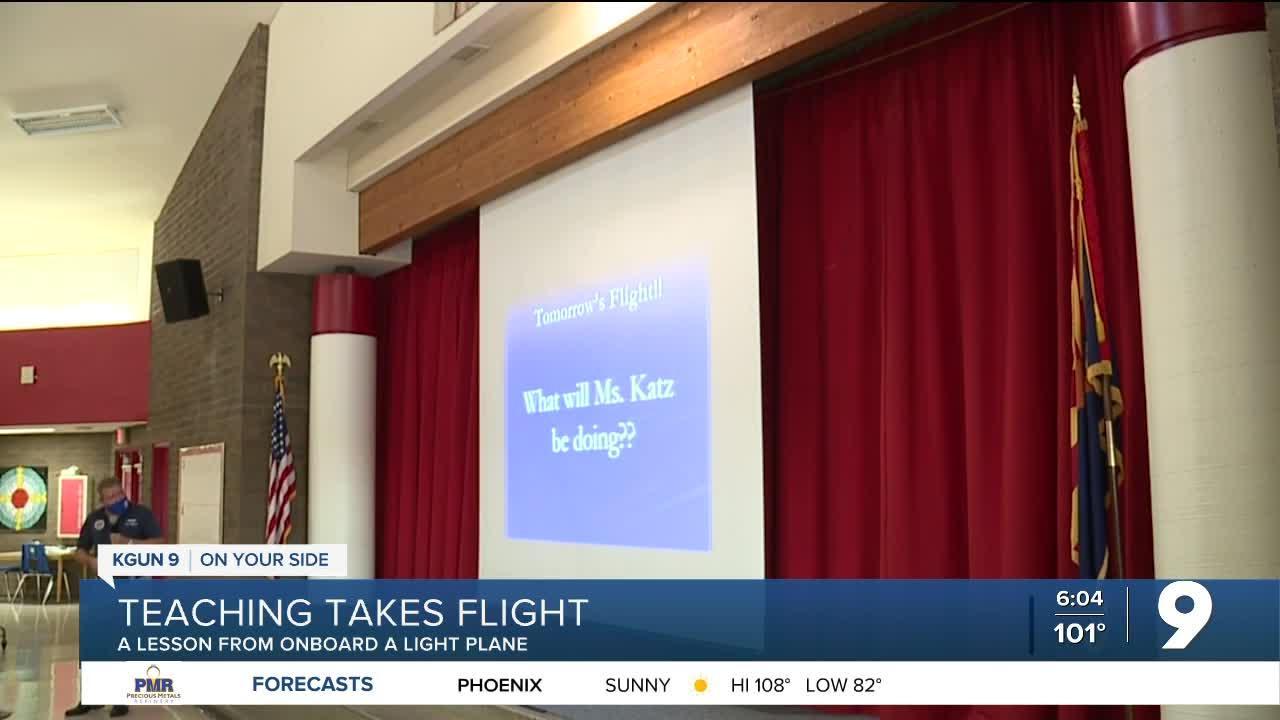 Teacher to teach lesson flying over her school