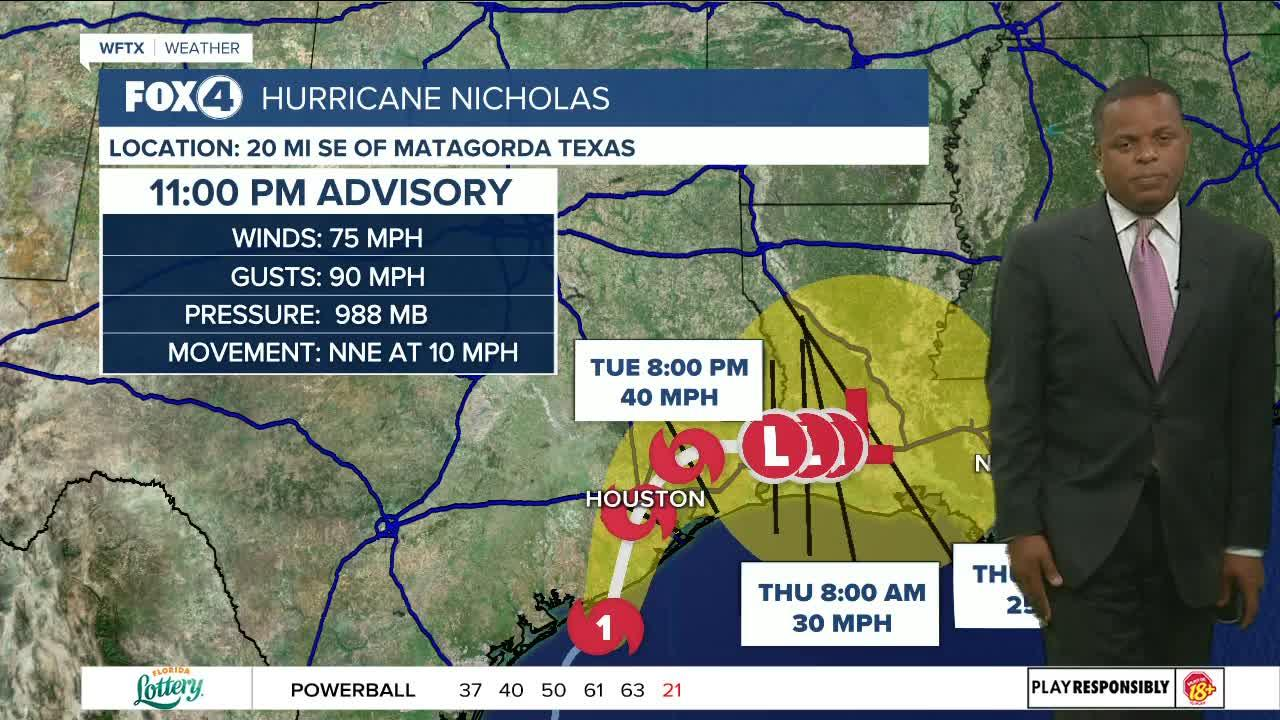 Nicholas becomes a hurricane...11 PM Update