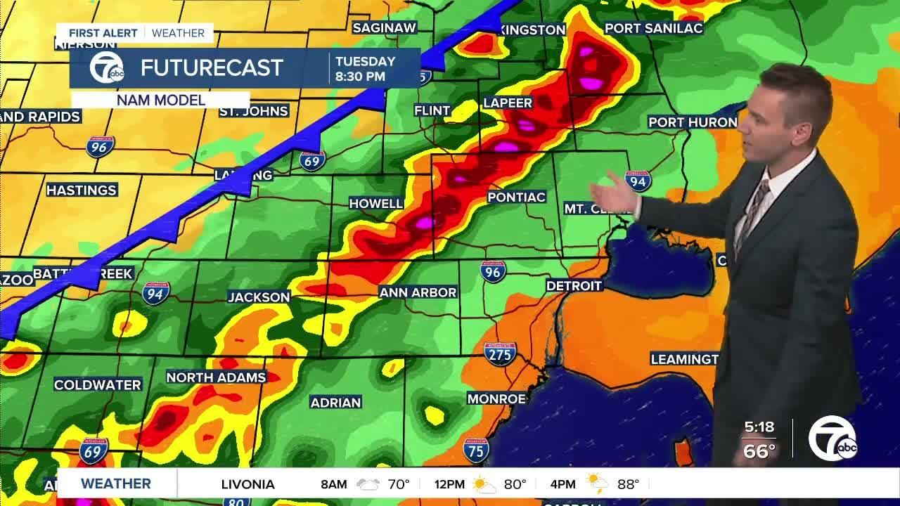 Metro Detroit Forecast: Severe storm risk late today