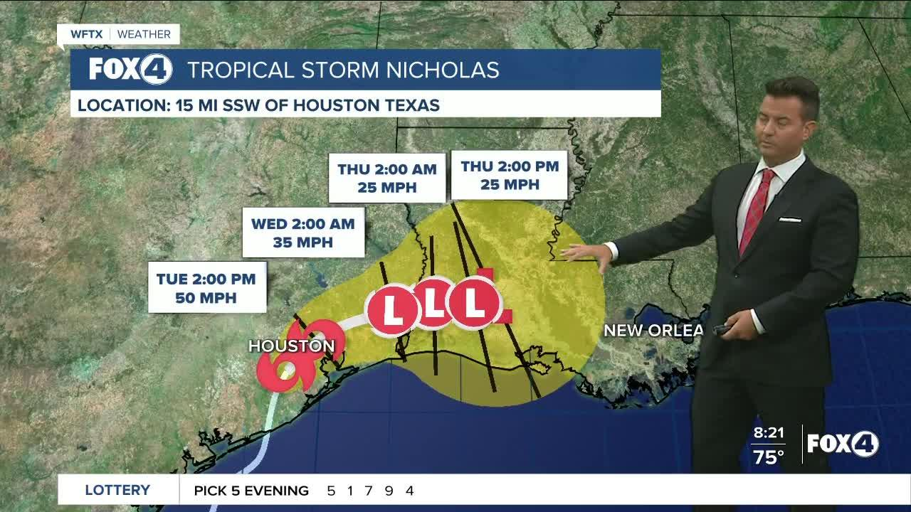 Tropical Storm Nicholas 8AM Advisory