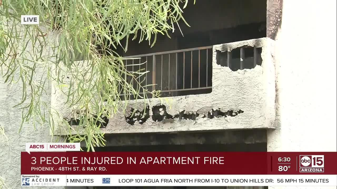 Three hurt after jumping from burning apartment complex