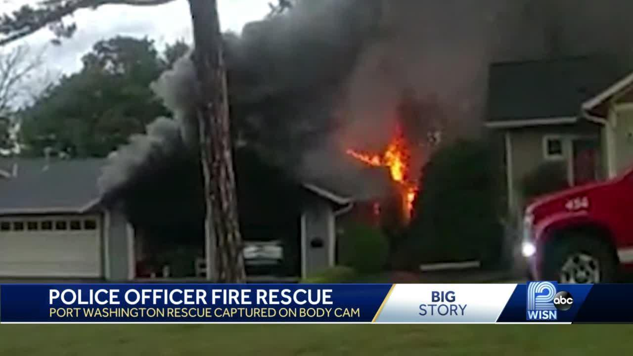 Officer saves man from burning home