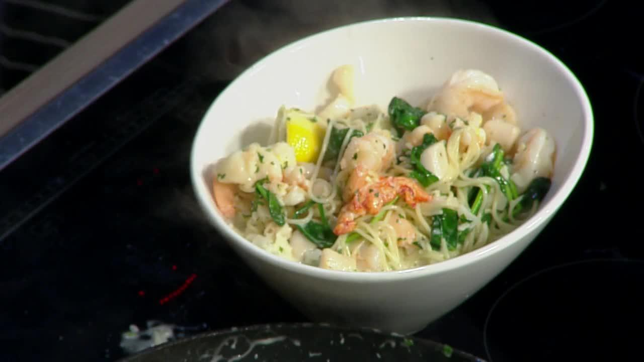 Creamy lemon seafood pasta and kitchen hack from the Kitchen Magician