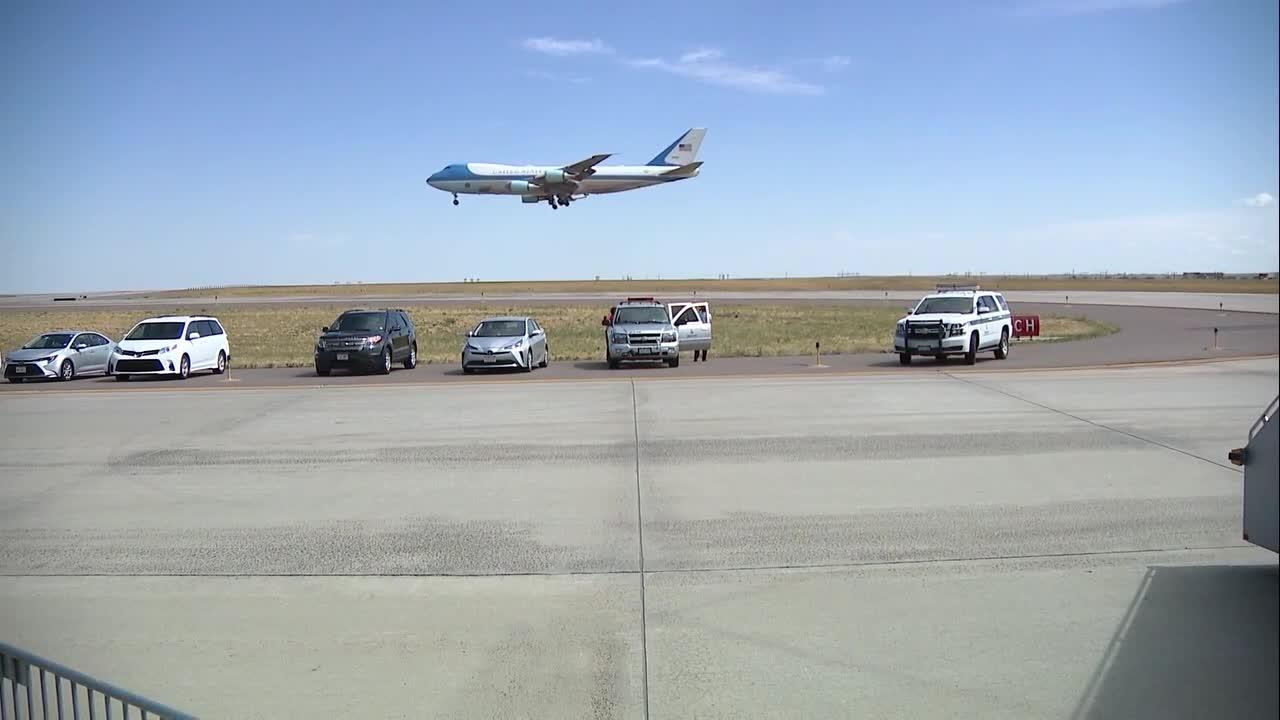 Air Force One arrives at Denver International Airport