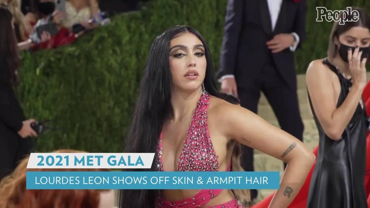 Madonna's Daughter Lourdes Leon Shows Skin and Armpit Hair in Sparkly Bra Top for 2021 Met Gala Debut