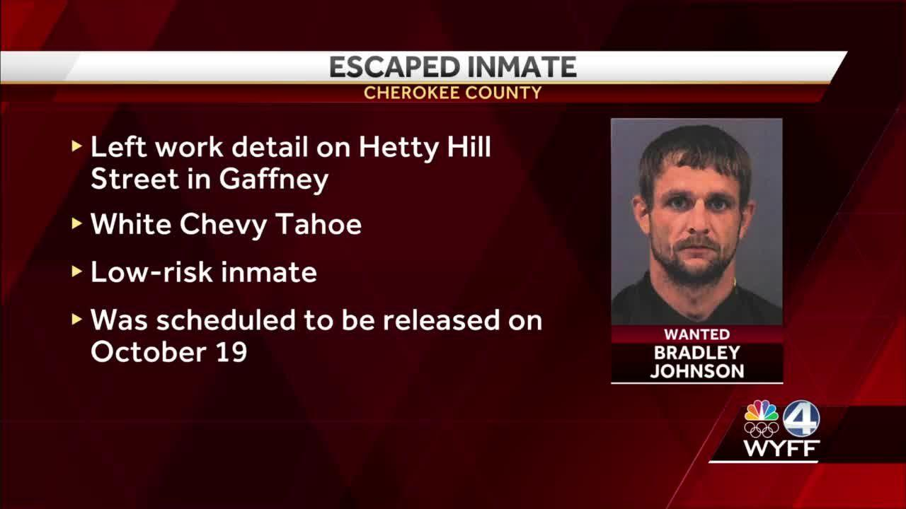 Inmate escapes during work detail in Gaffney, sheriff says