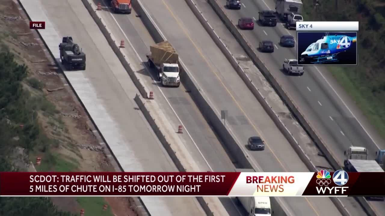 SCDOT: Traffic to shift out of first section of I-85 'chute' tomorrow, completion time released
