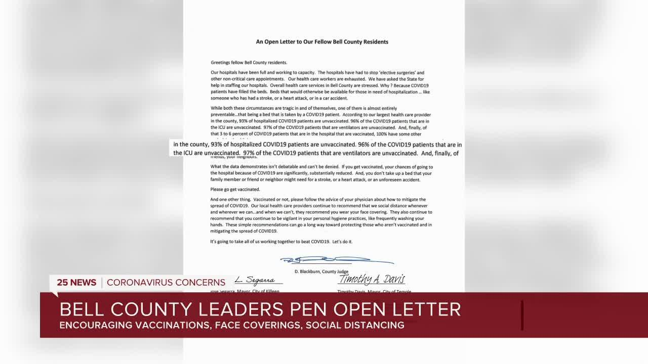 Bell County open letter on covid