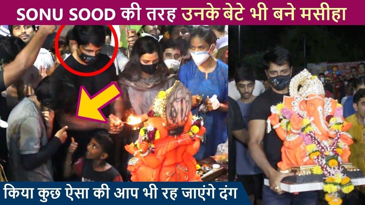 Ganpati Visarjan 2021 | Sonu Sood With Family Bid Goodbye To Bappa On The Beats Of Dhol