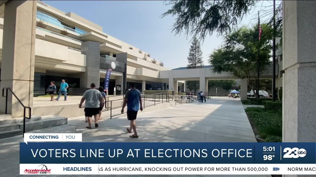 Voters line up at elections office