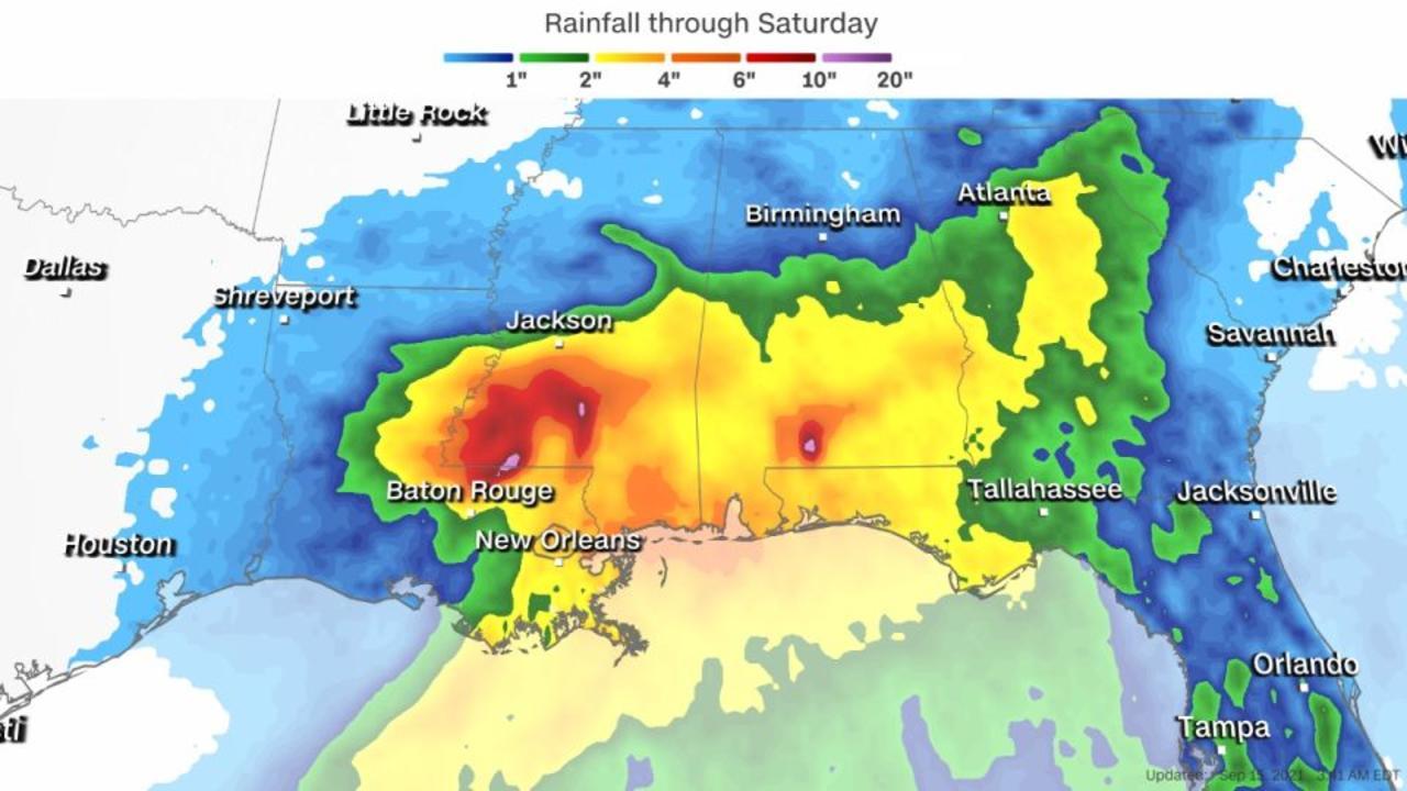 Nicholas slows to a crawl over Louisiana