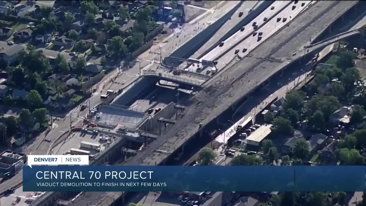 Central 70 finishing demolition work on viaduct