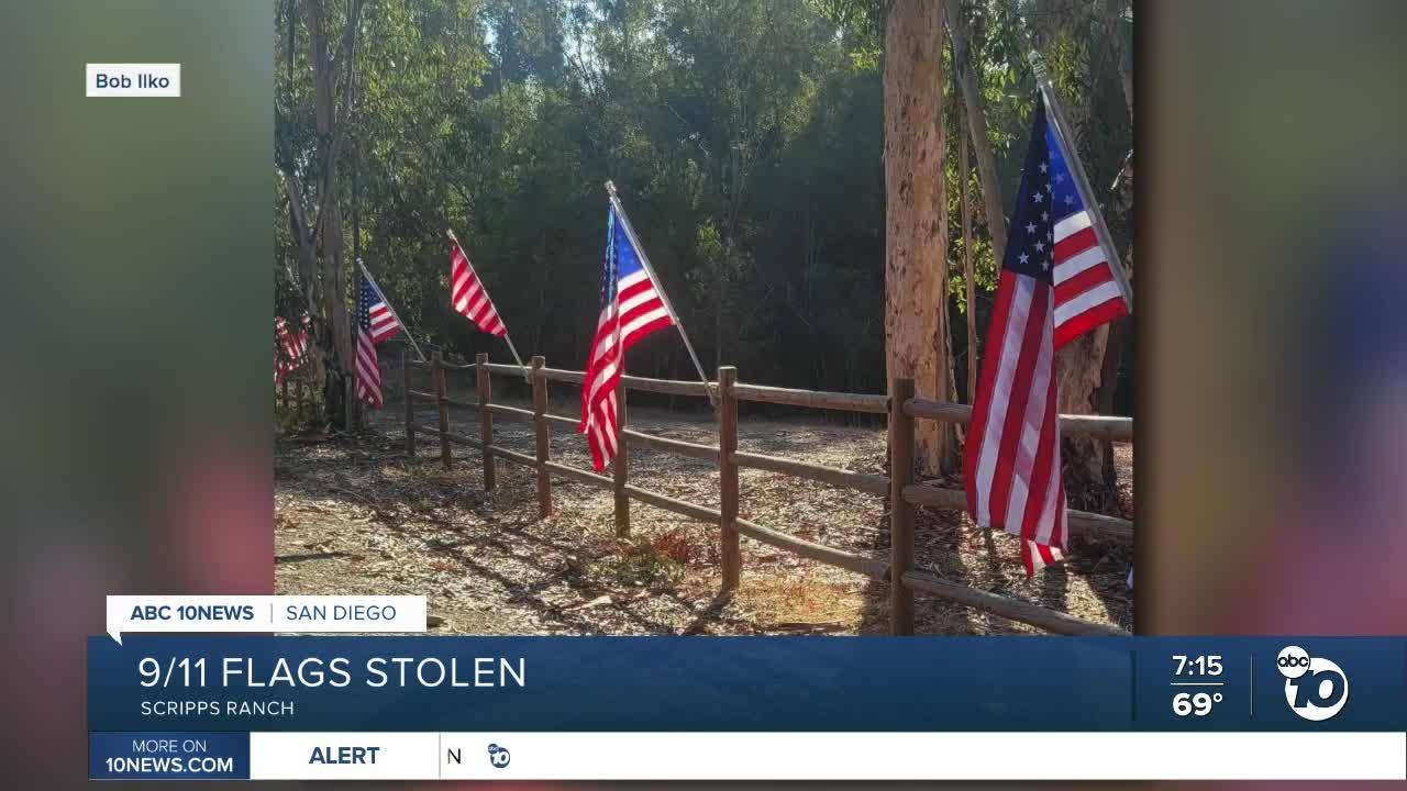 American flags put up to honor 9/11 stolen in Scripps Ranch