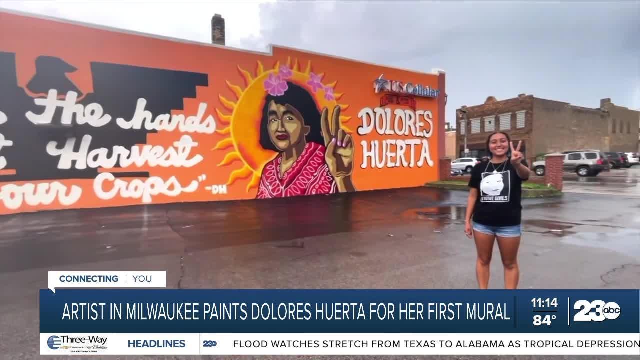 Milwaukee graffiti artist creates Dolores Huerta mural