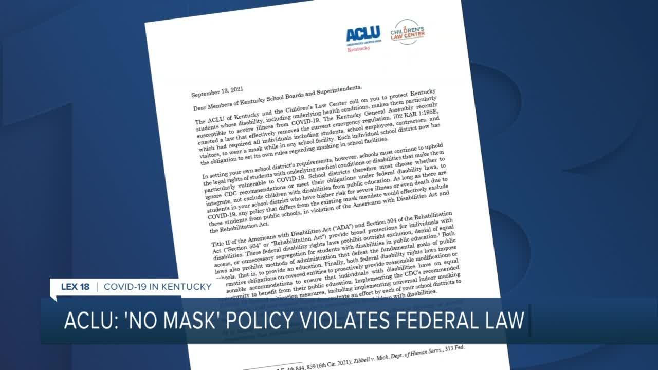 ACLU: 'No mask' policy violates federal law