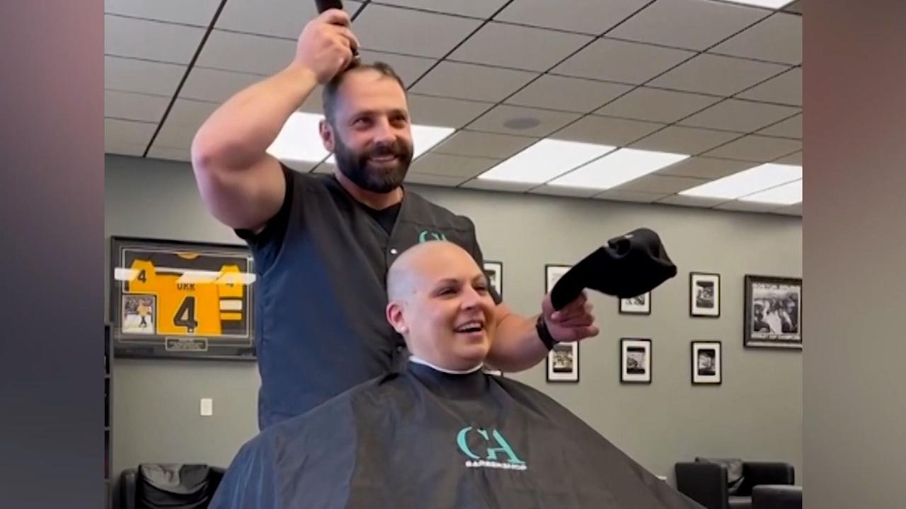 Barber in Massachusetts shaves own head to help cancer patient feel more at ease