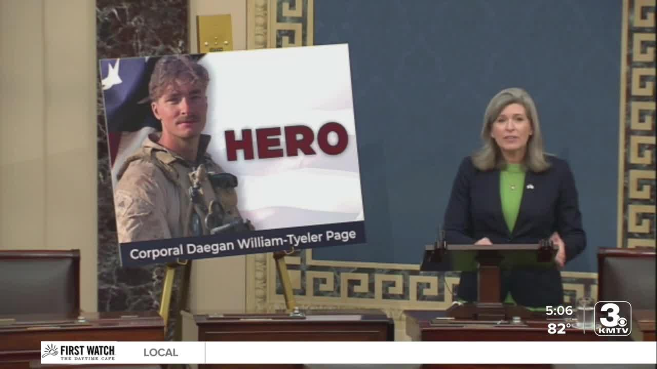 Sen. Ernst honors fallen Cpl. Daegan Page, speaks in Senate about her connection to his family