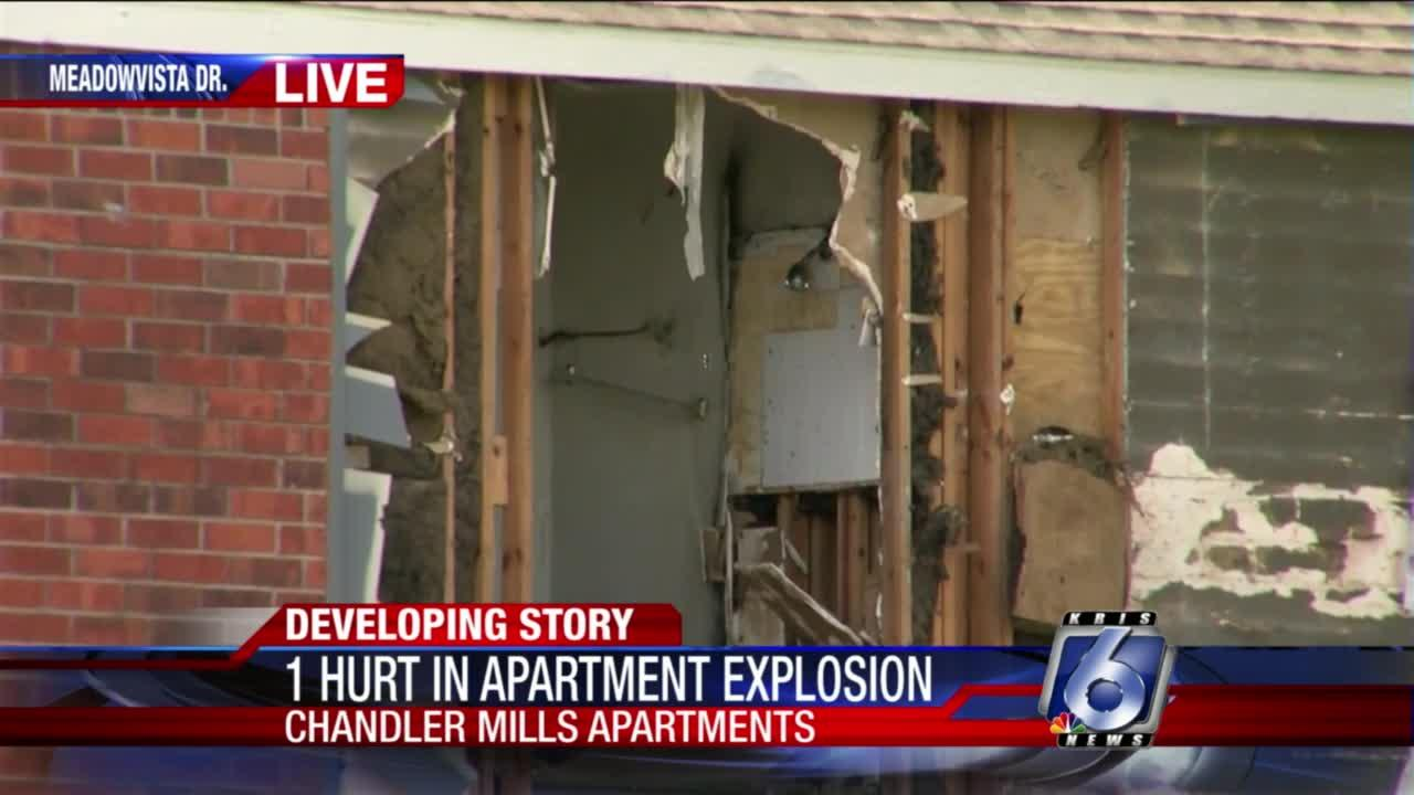 One hurt in apartment explosion