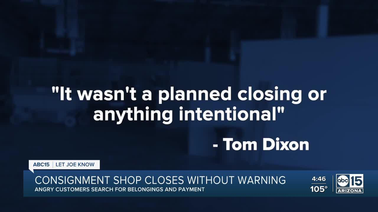 Valley consignment store closes without warning