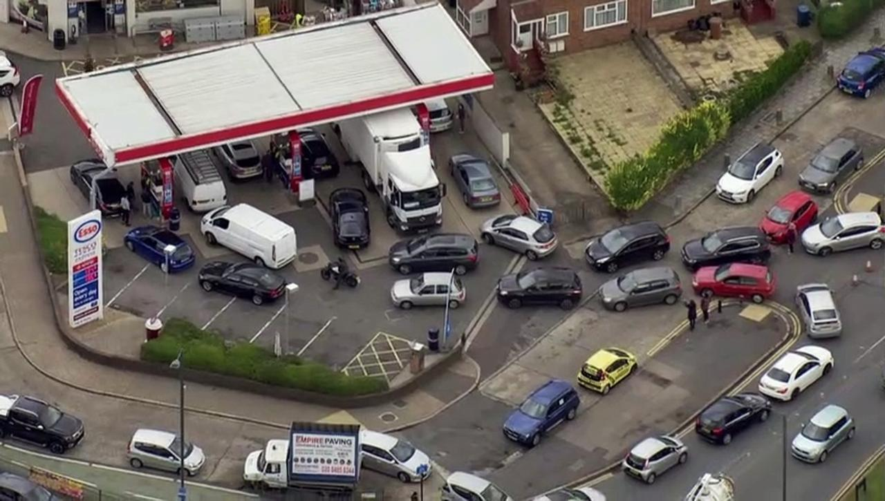 Huge backlog of cars queue for petrol in London