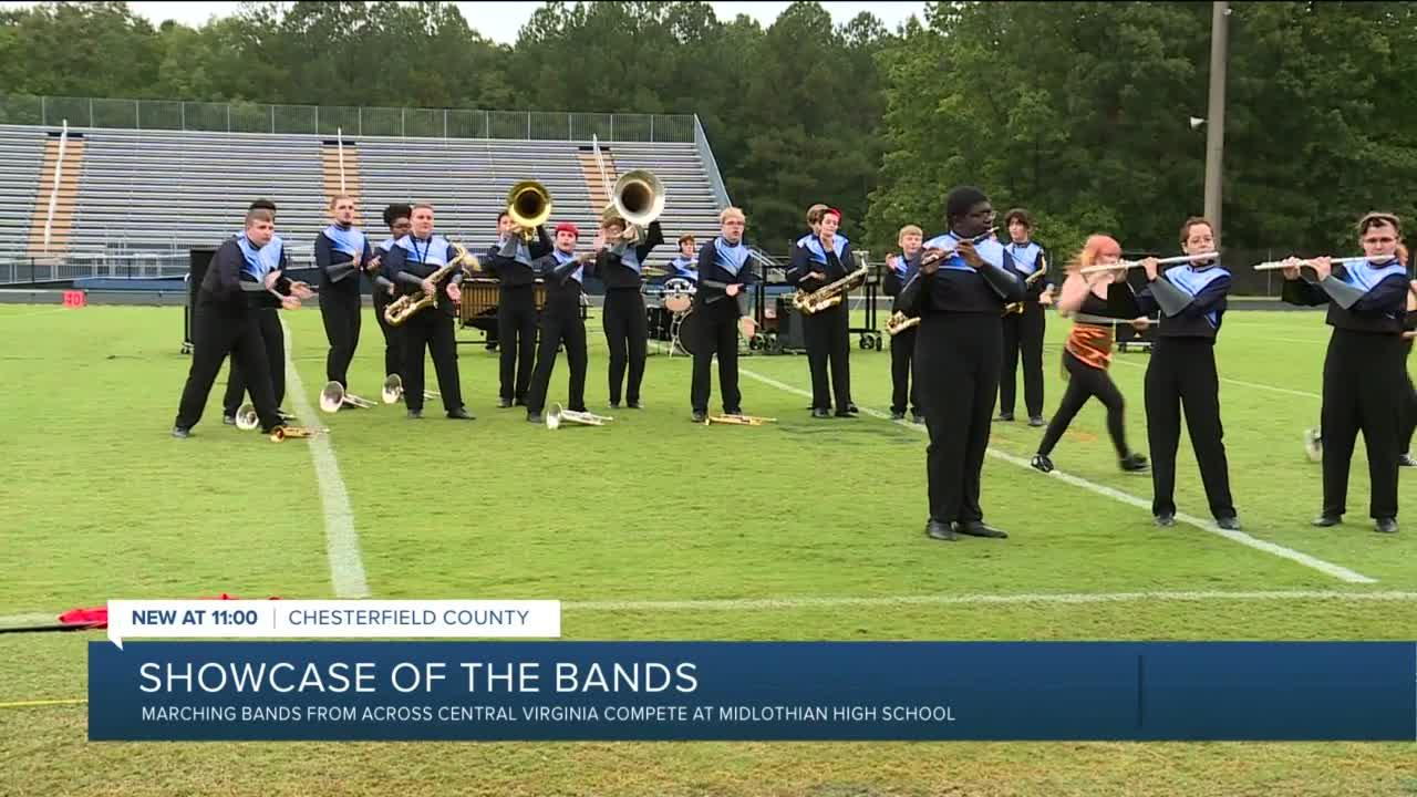 High school marching bands compete in Showcase of the Bands