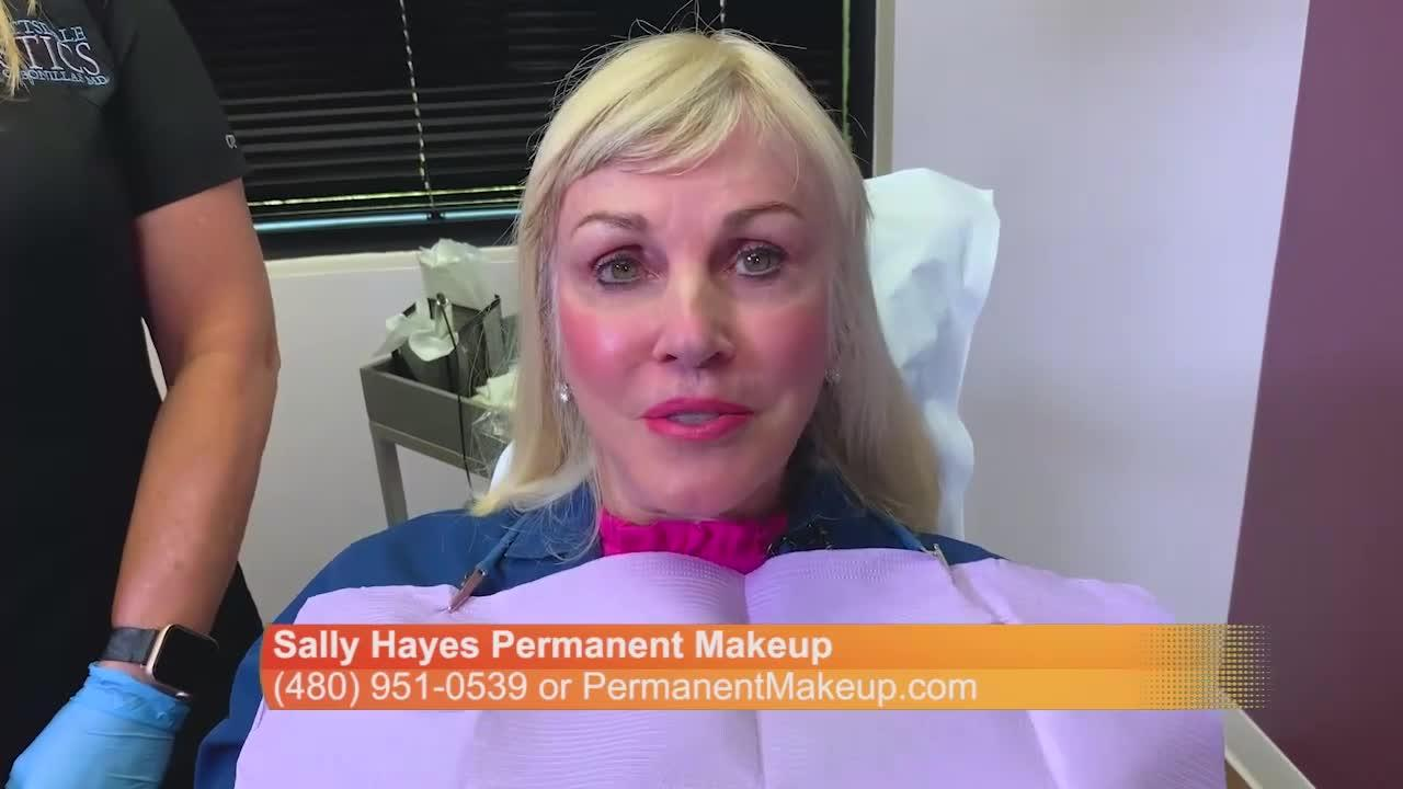 Sally Hayes is now the client! Sally is getting her eye brows done with permanent makeup