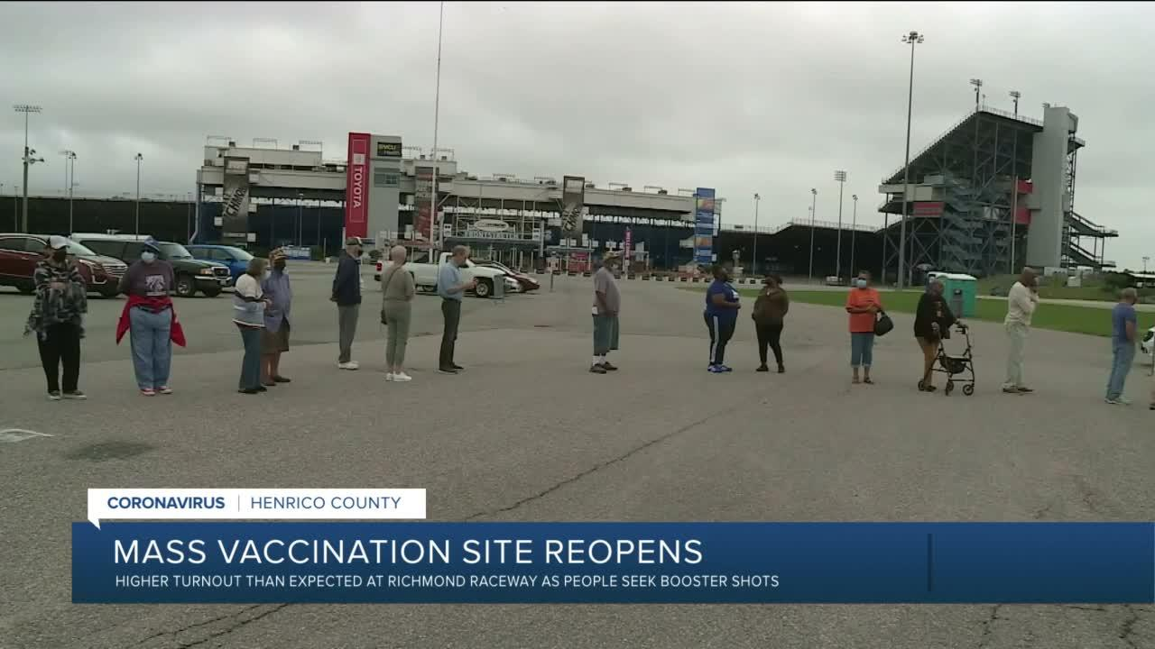 Higher turnout than expected at Richmond Raceway as people seek booster shots