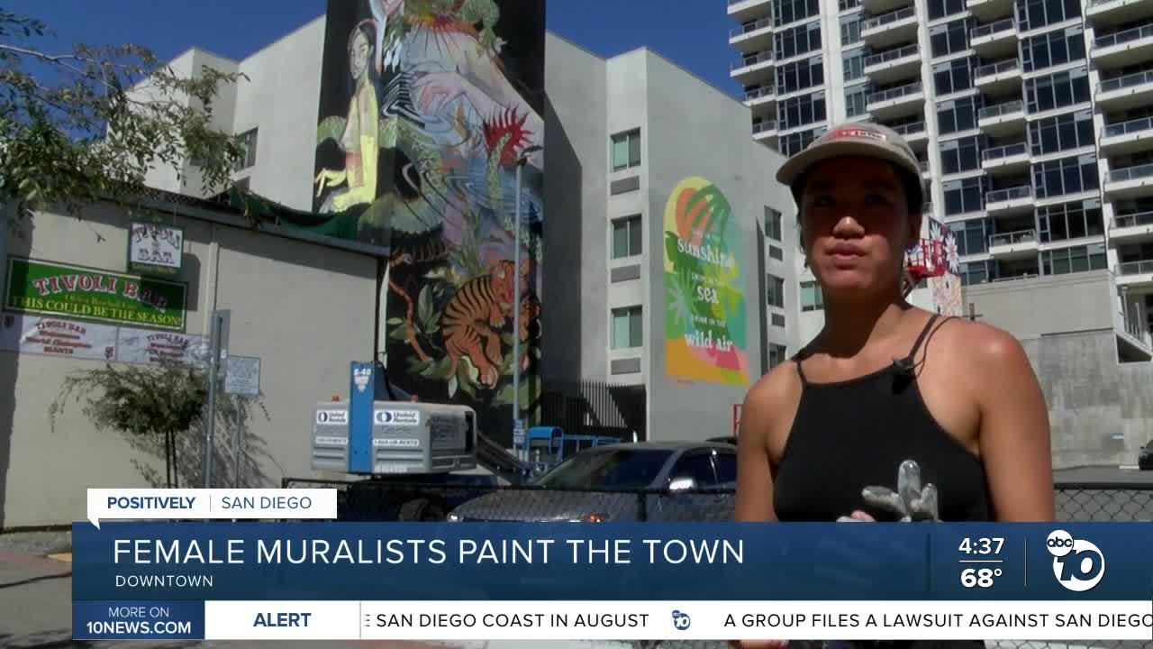 Female muralists paint their masterpieces in Downtown San Diego